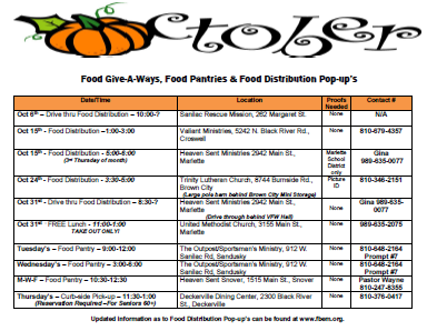 October food give-a-ways, food pantries, and food distribution pop-ups.