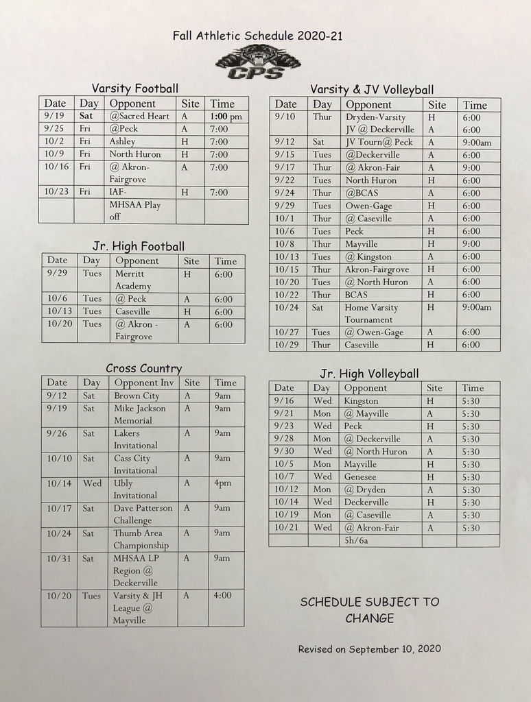 Fall Athletics Schedule